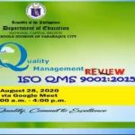 SDO Parañaque conducts ISO 9001:2015 Management Review for 2020
